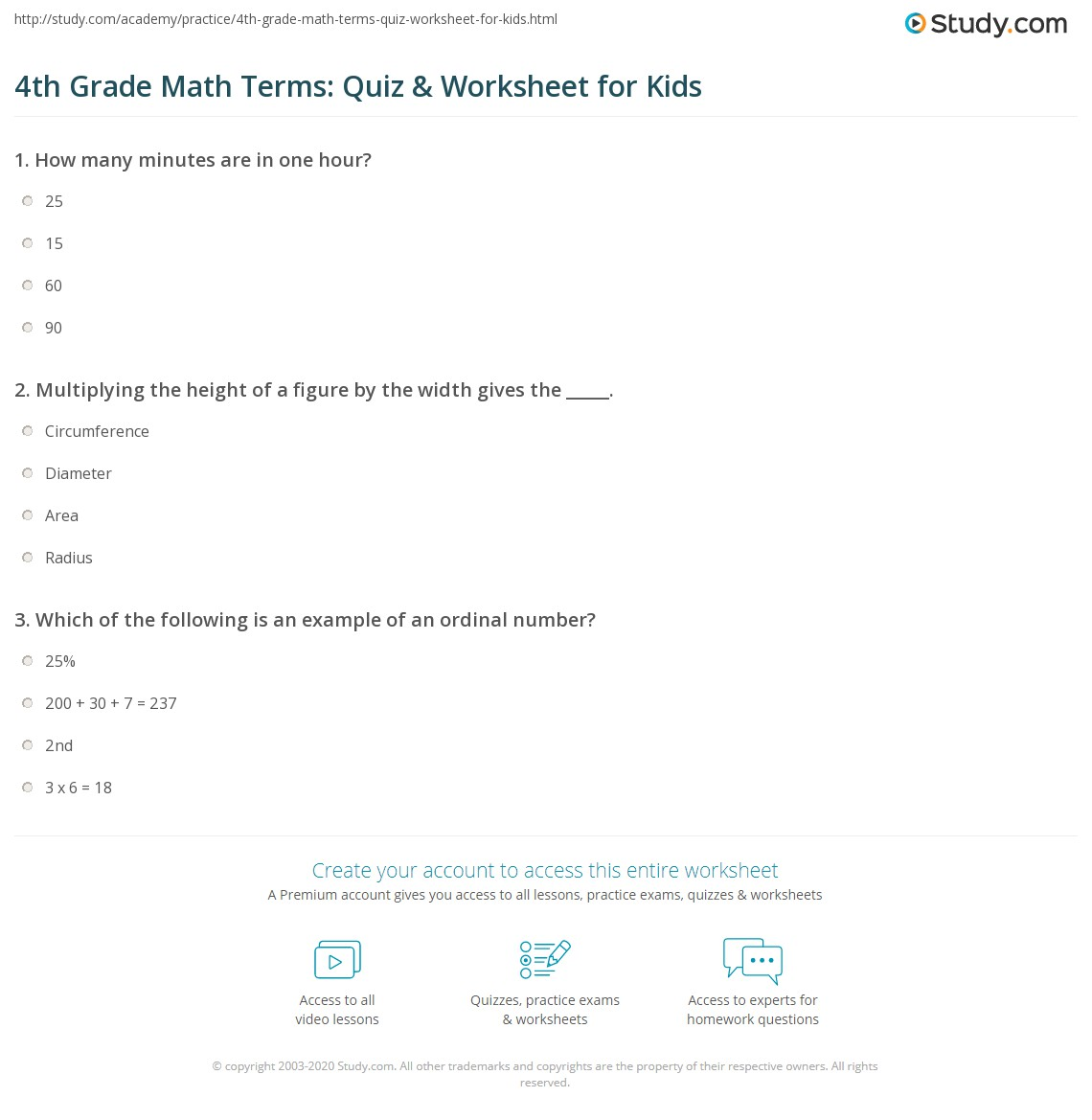 4th Grade Math Terms Quiz & Worksheet for Kids