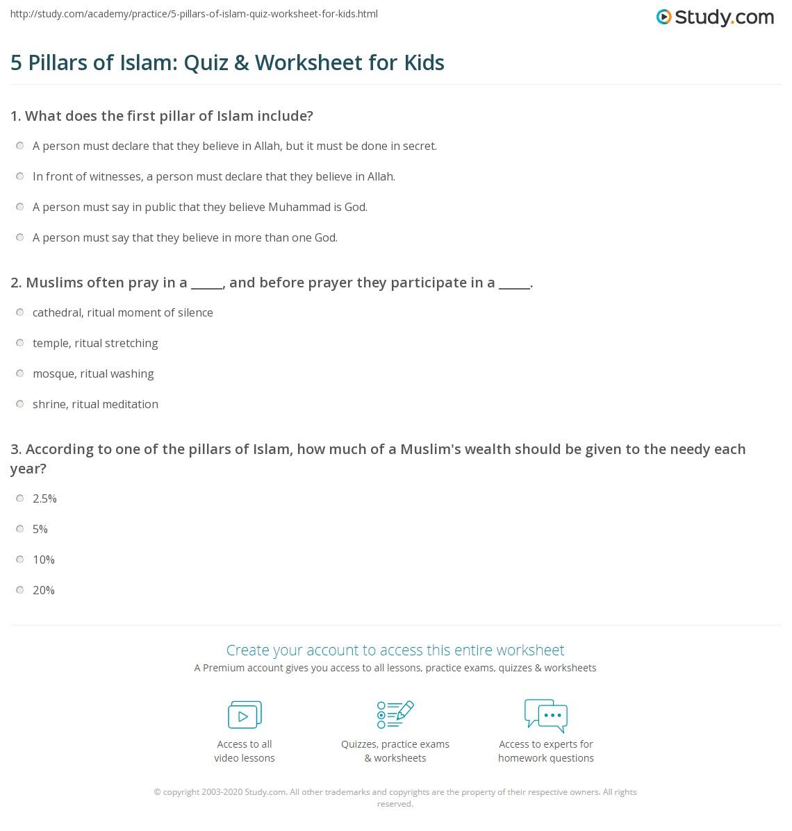 5 Pillars Of Islam Quiz Worksheet For Kids Study