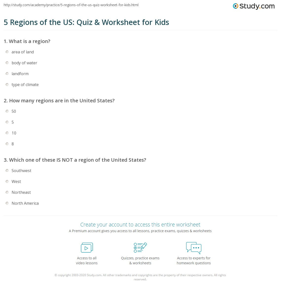 5 Regions of the US Quiz Worksheet for Kids – Regions of the United States Worksheets