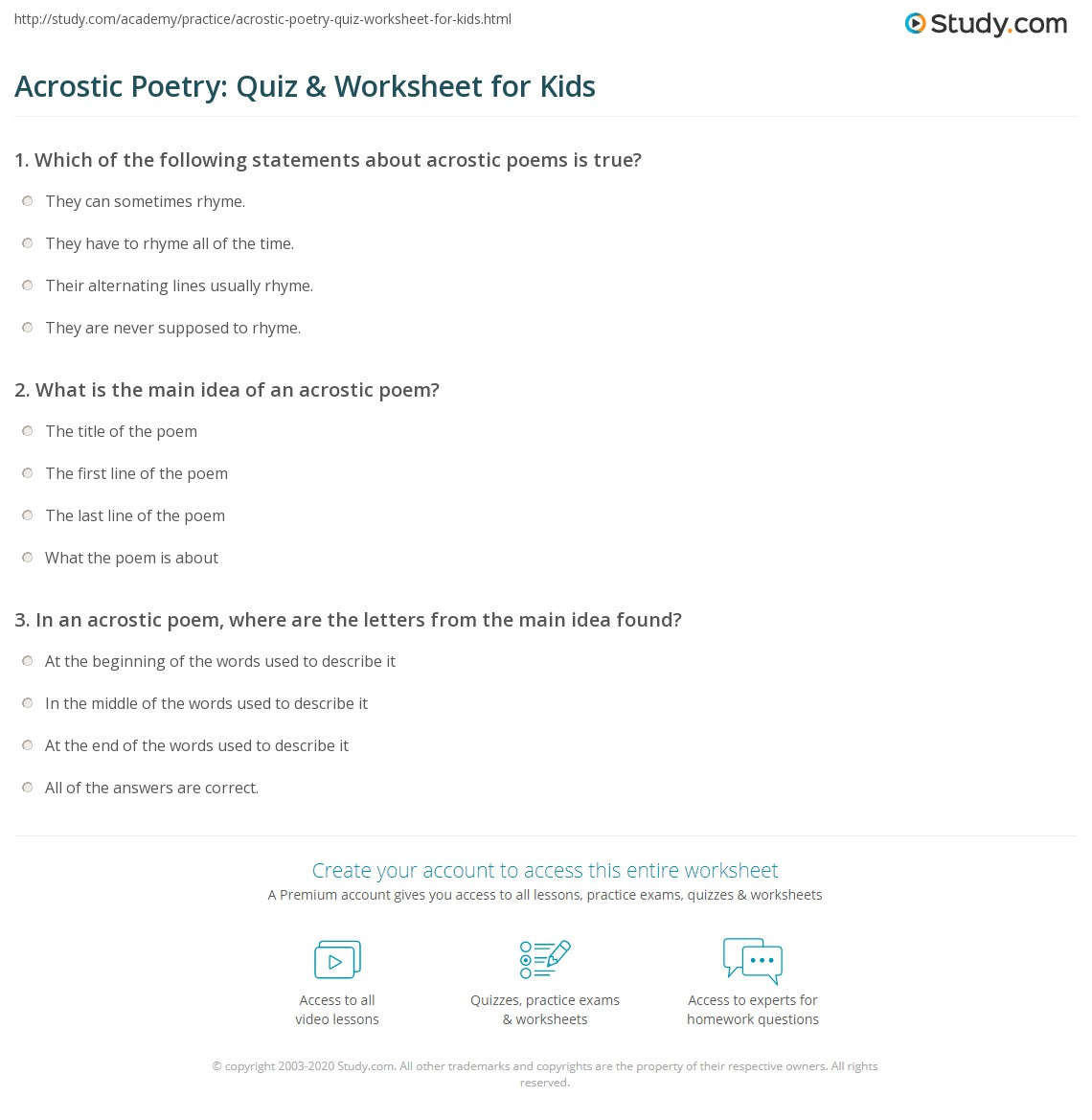 Acrostic Poetry: Quiz & Worksheet for Kids | Study.com
