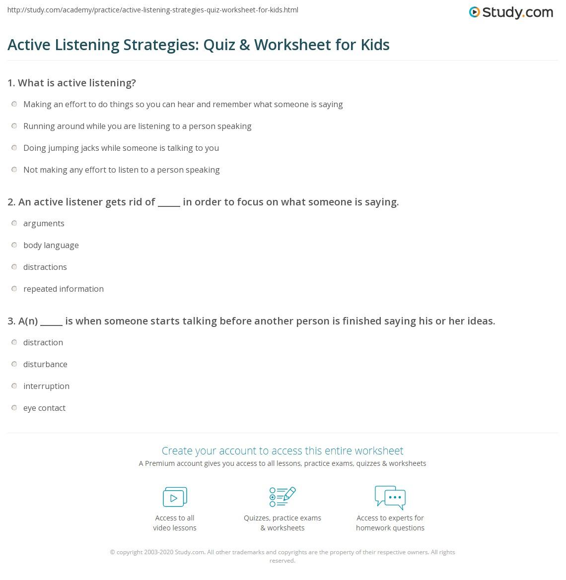 Worksheets Active Reading Strategies Worksheet active listening strategies quiz worksheet for kids study com print worksheet