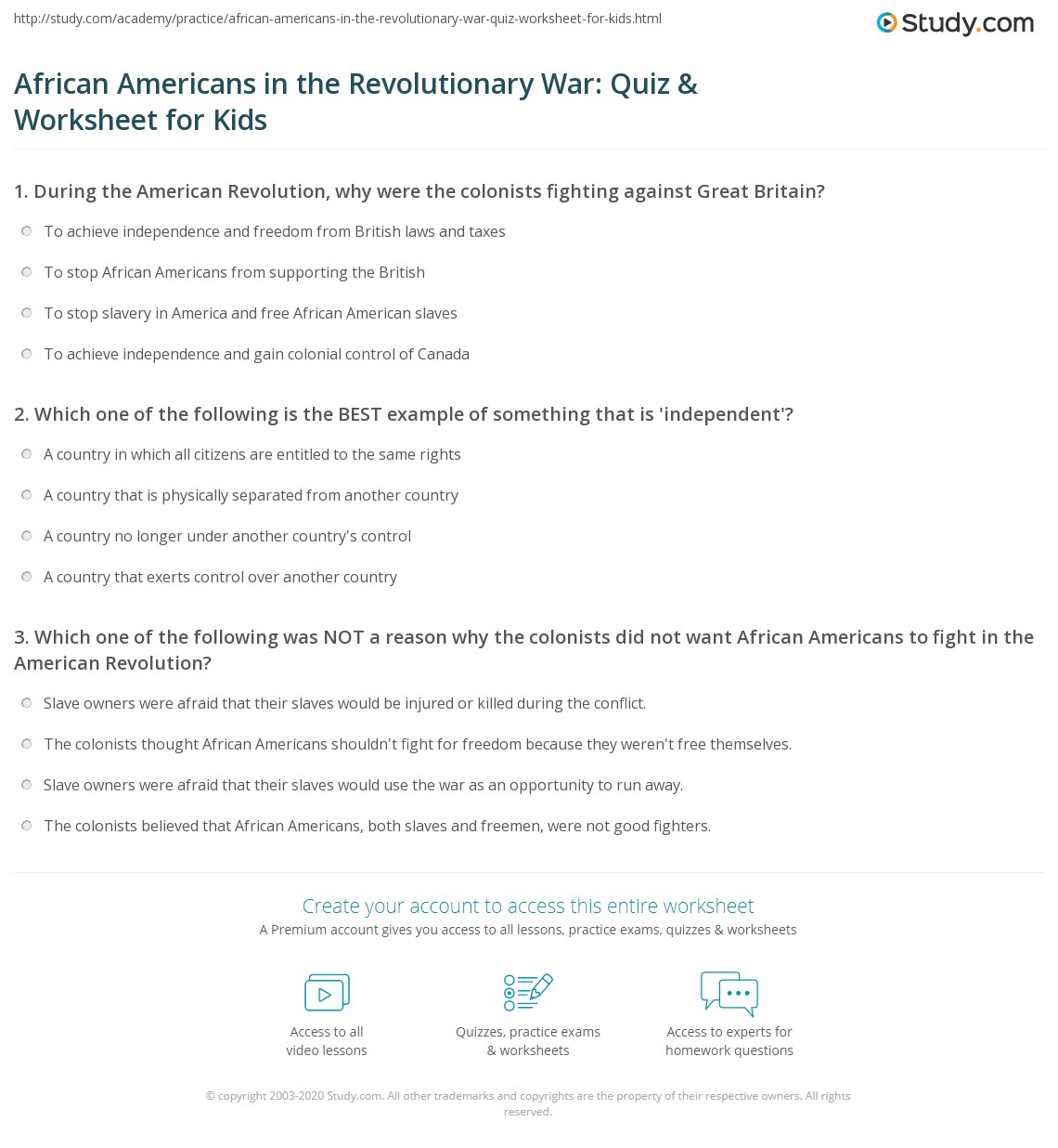 Worksheets American Revolutionary War Worksheets african americans in the revolutionary war quiz worksheet for print of american revolution lesson kids worksheet