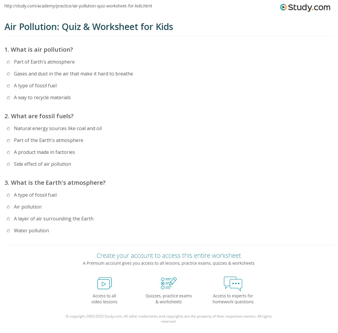 air pollution: quiz & worksheet for kids | study