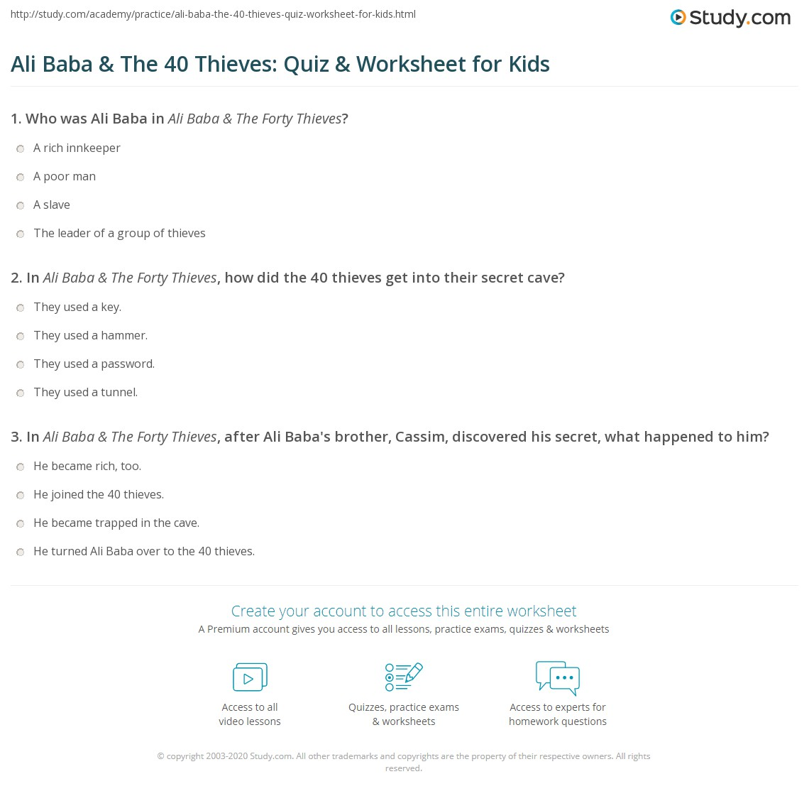 ali baba the 40 thieves quiz worksheet for kids. Black Bedroom Furniture Sets. Home Design Ideas