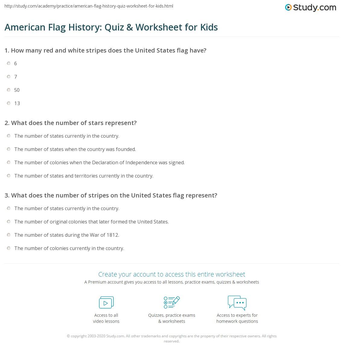 Uncategorized Us Flag History For Kids american flag history quiz worksheet for kids study com print of the lesson worksheet