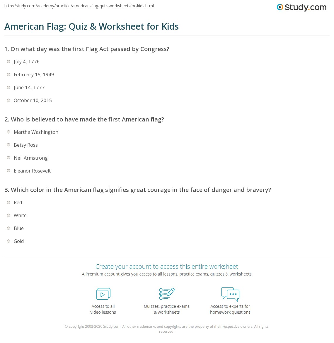 Print American Flag Facts Lesson For Kids Worksheet