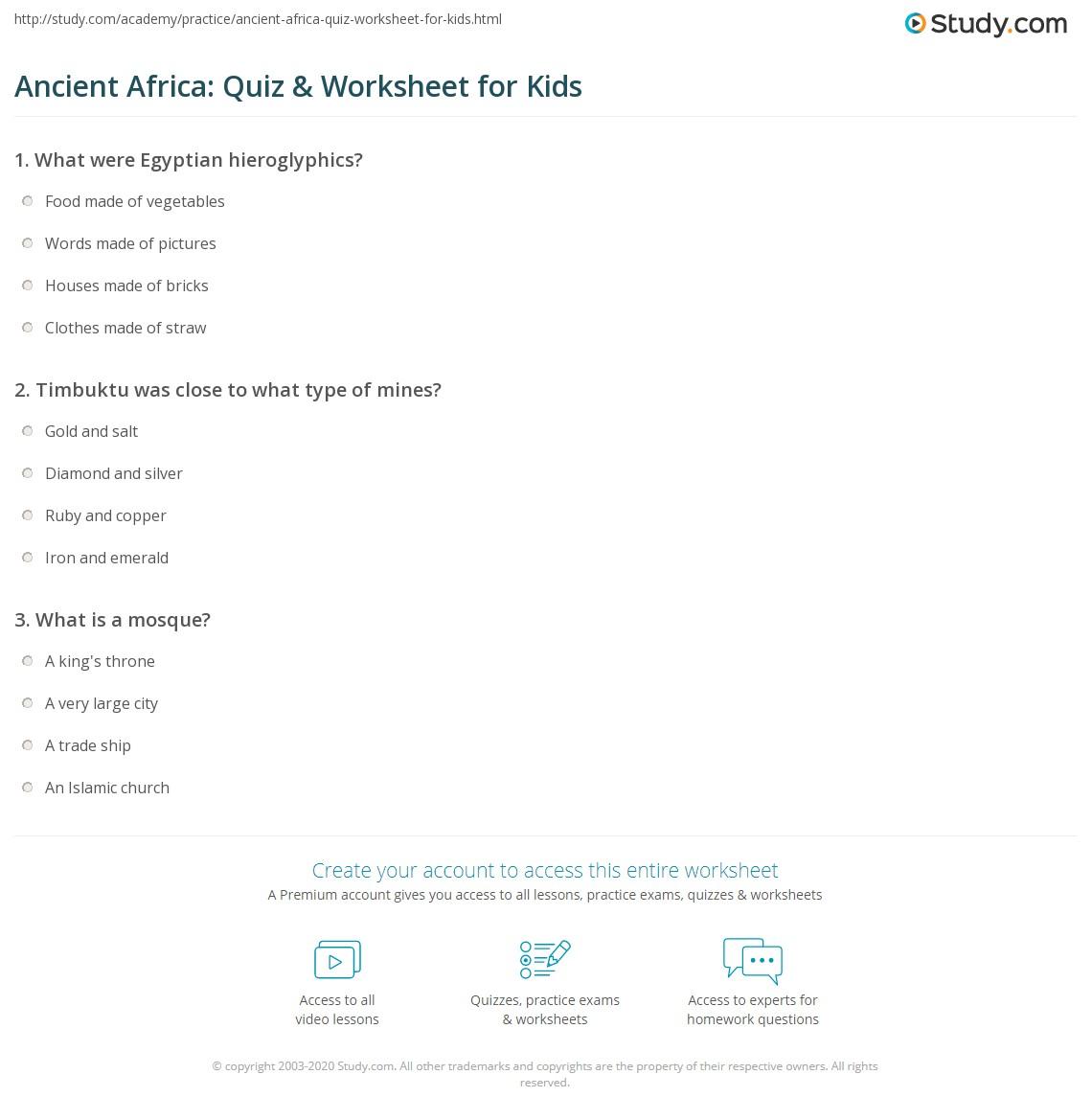 ancient africa quiz worksheet for kids. Black Bedroom Furniture Sets. Home Design Ideas