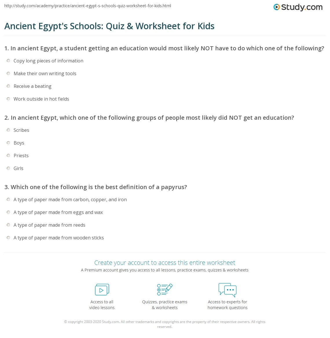 Ancient Egypts Schools Quiz Worksheet For Kids Study