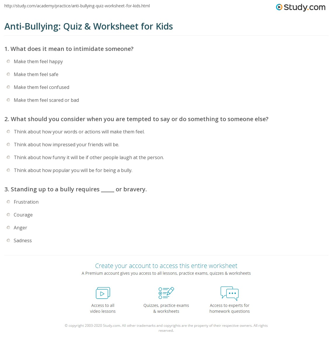 Worksheets Bullying Worksheets For Kids anti bullying quiz worksheet for kids study com print lesson worksheet