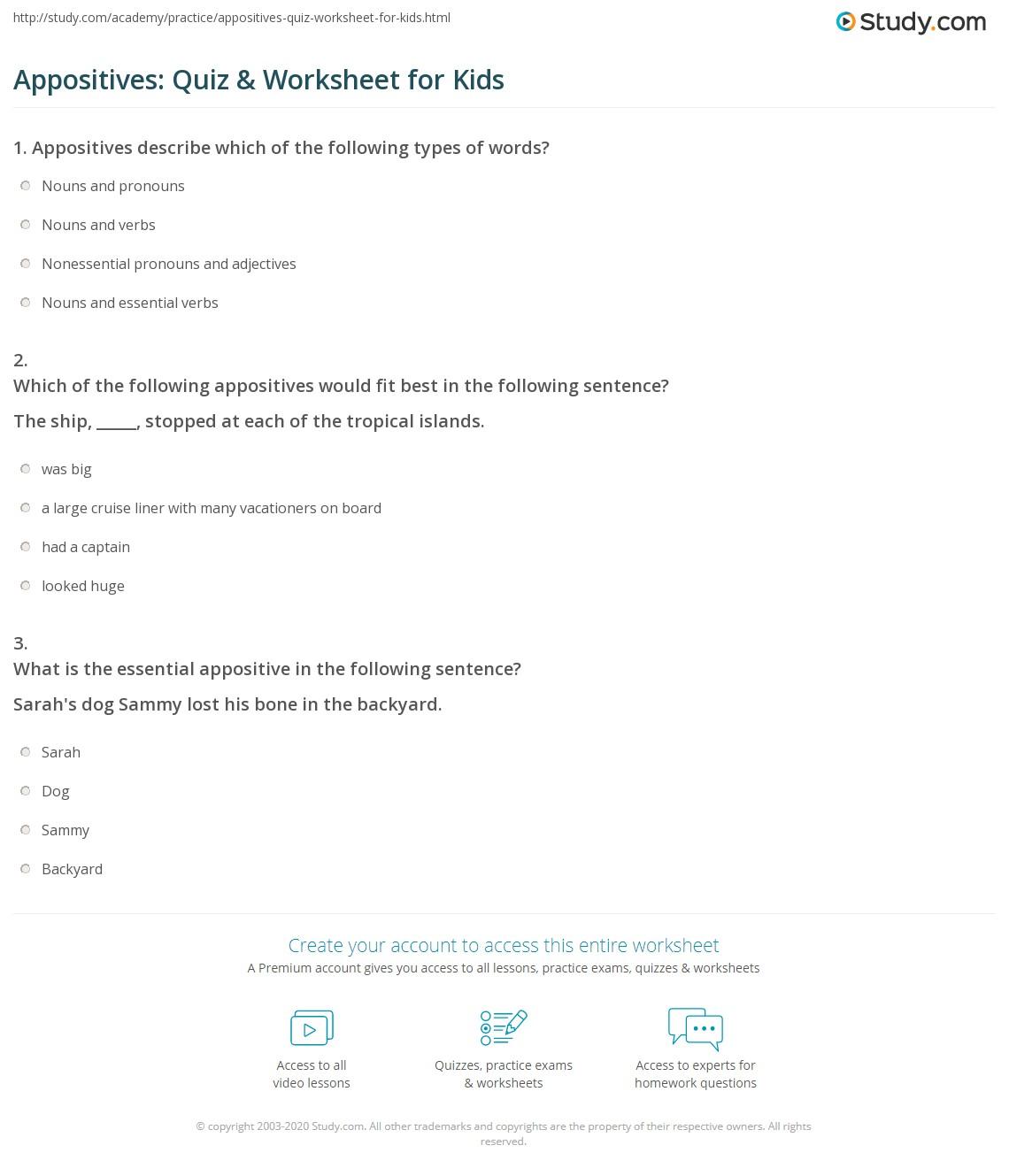 Appositives: Quiz & Worksheet for Kids  Study.com printable worksheets, free worksheets, alphabet worksheets, worksheets, and worksheets for teachers Worksheets On Appositives 1542 x 1140
