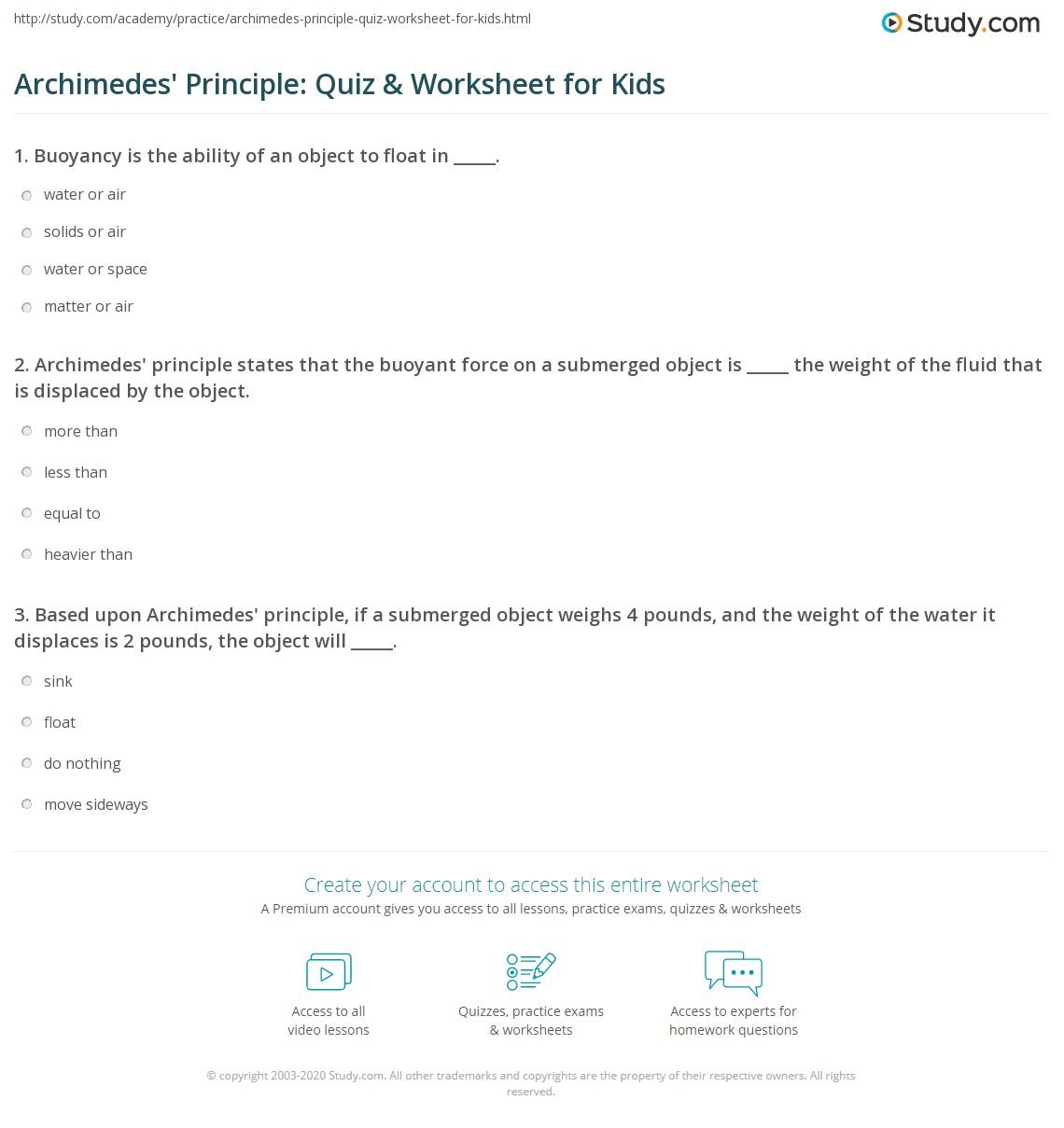 Archimedes Principle Quiz & Worksheet for Kids