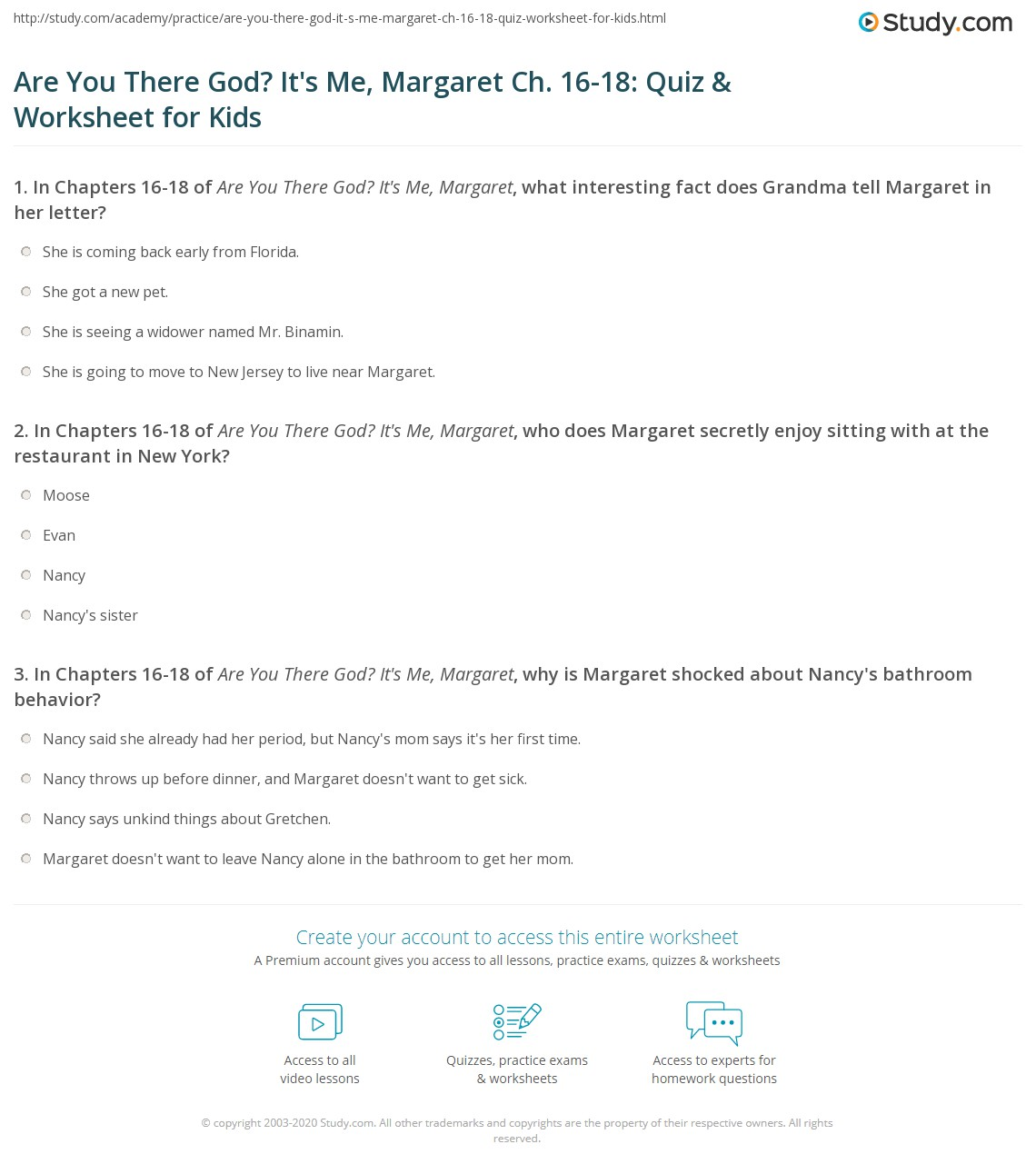 Are You There God? It's Me, Margaret Ch  16-18: Quiz & Worksheet for