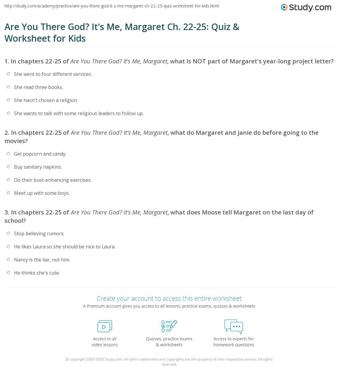 Are You There God Its Me Margaret Ch 22 25 Quiz Worksheet For