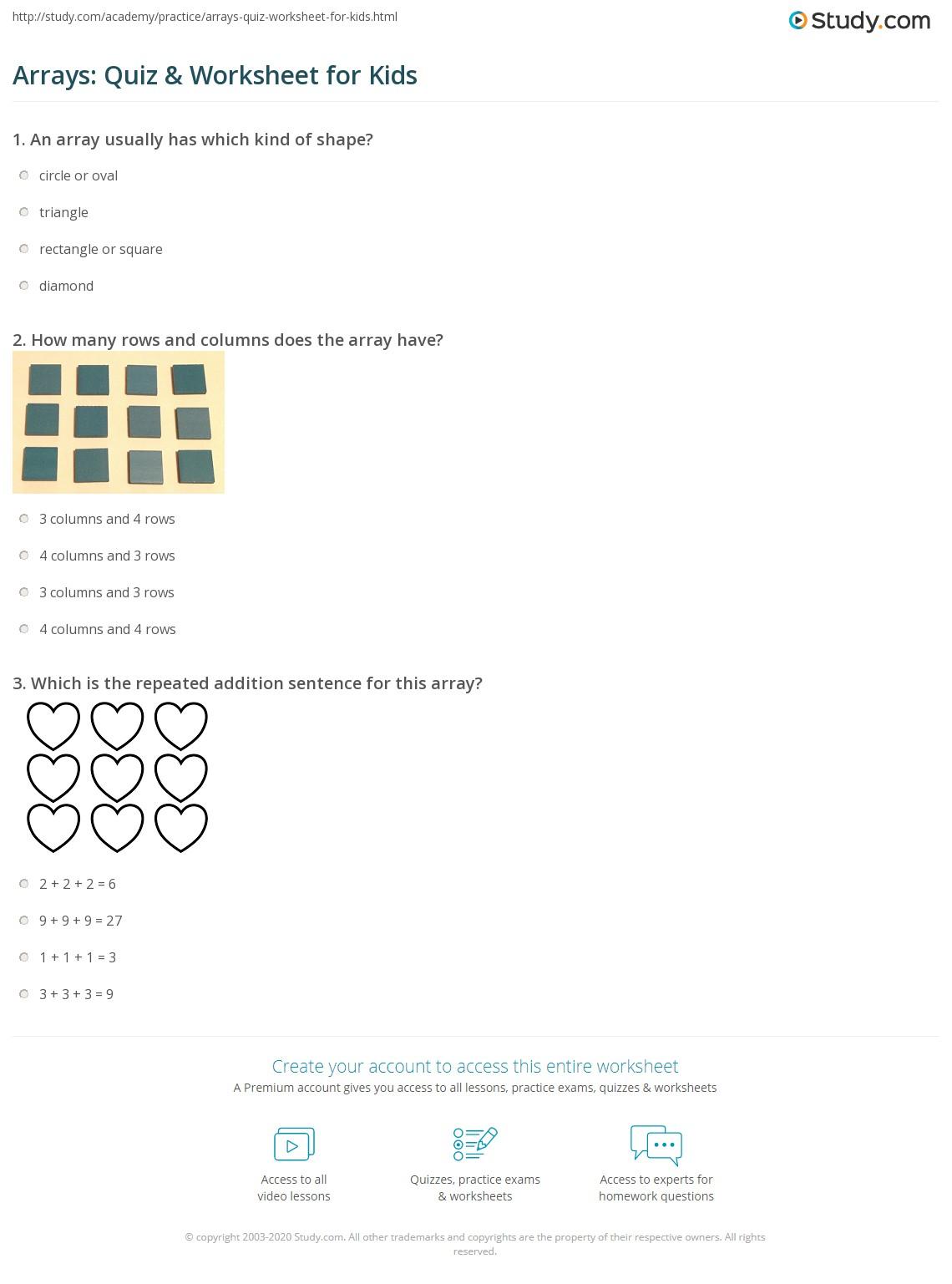 Arrays Quiz Worksheet for Kids – Array Worksheets
