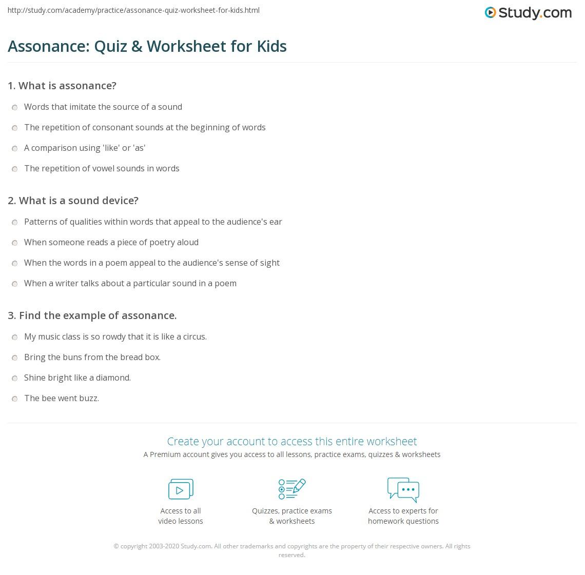 assonance quiz worksheet for kids. Black Bedroom Furniture Sets. Home Design Ideas