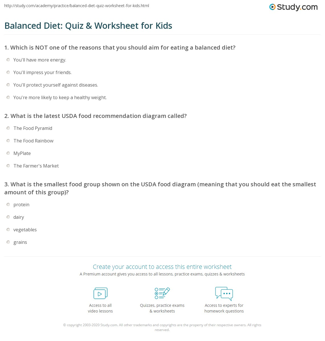 Balanced Diet: Quiz & Worksheet for Kids | Study com