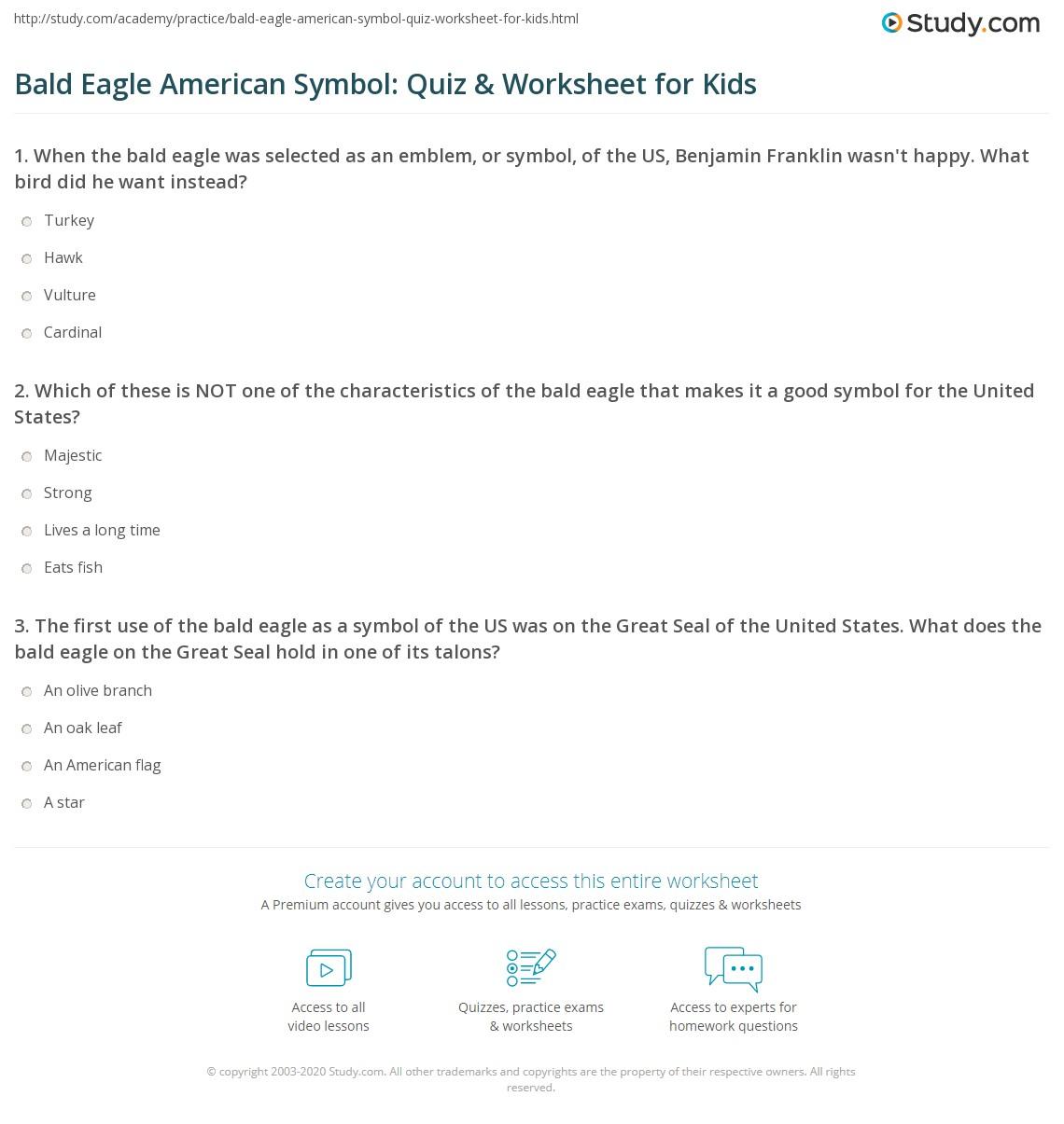Bald Eagle American Symbol Quiz Worksheet For Kids Study