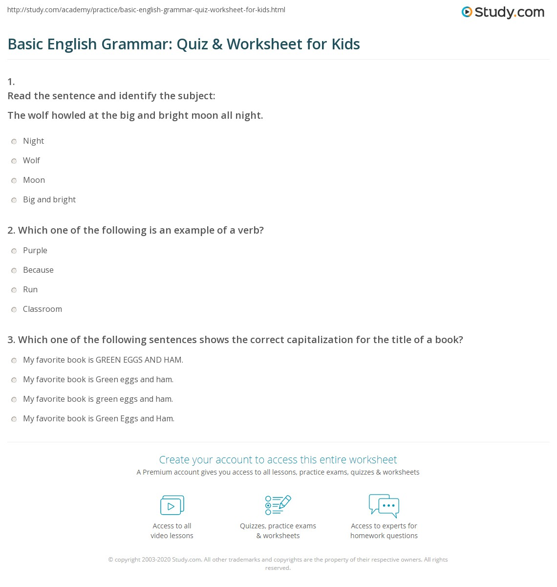 Basic English Grammar: Quiz & Worksheet for Kids | Study.com