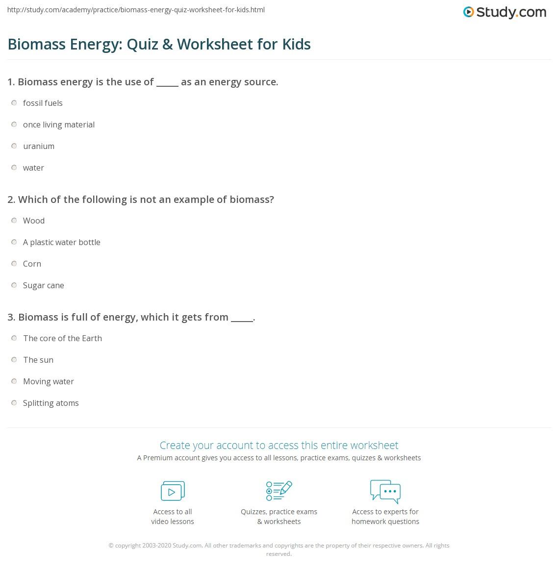Biomass Energy: Quiz & Worksheet for Kids | Study com