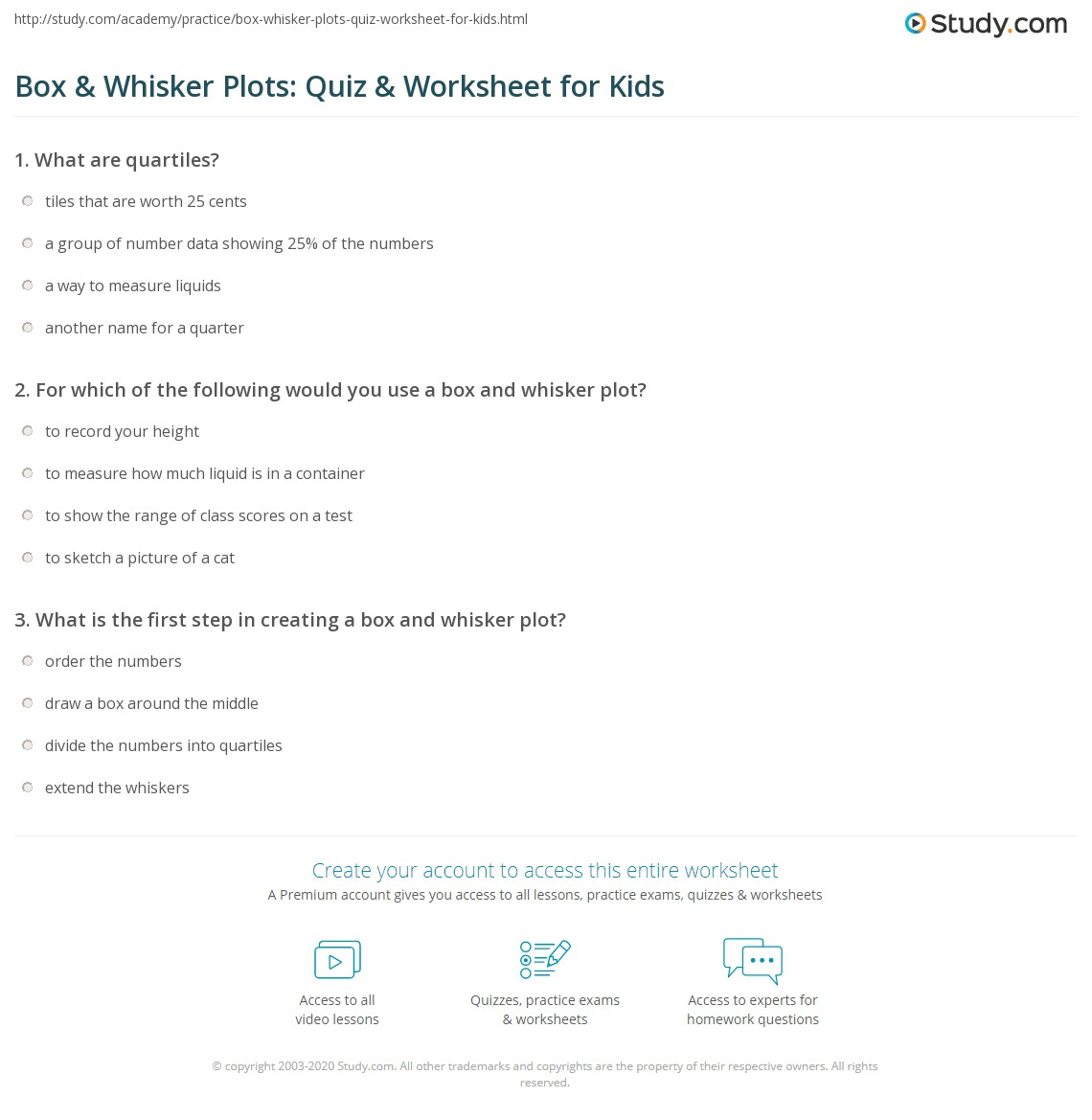Box Whisker Plots Quiz Worksheet for Kids – Box and Whisker Plot Worksheets