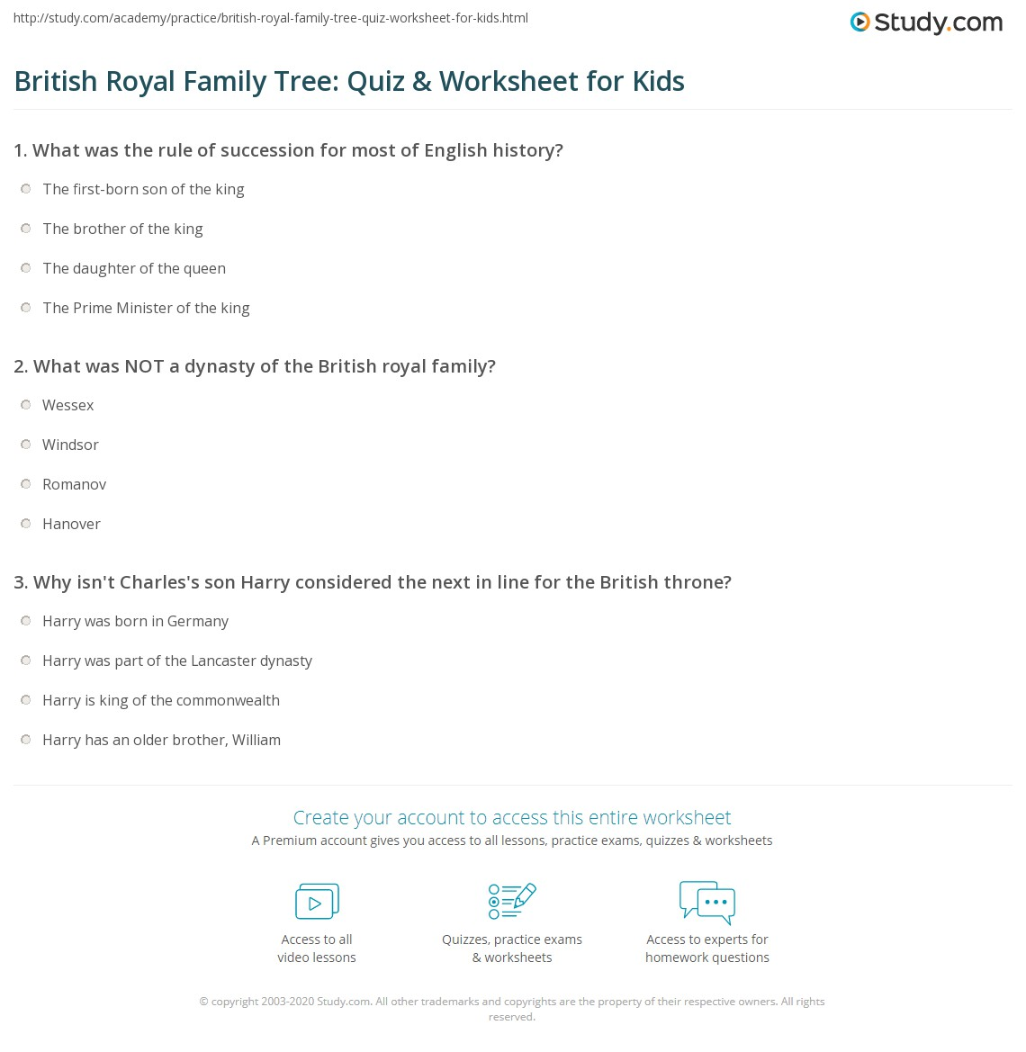 british royal family tree quiz worksheet for kids com print british royal history family tree lesson for kids worksheet