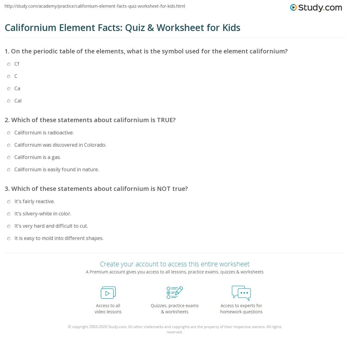 Californium Element Facts Quiz Worksheet for Kids – Element Symbols Worksheet