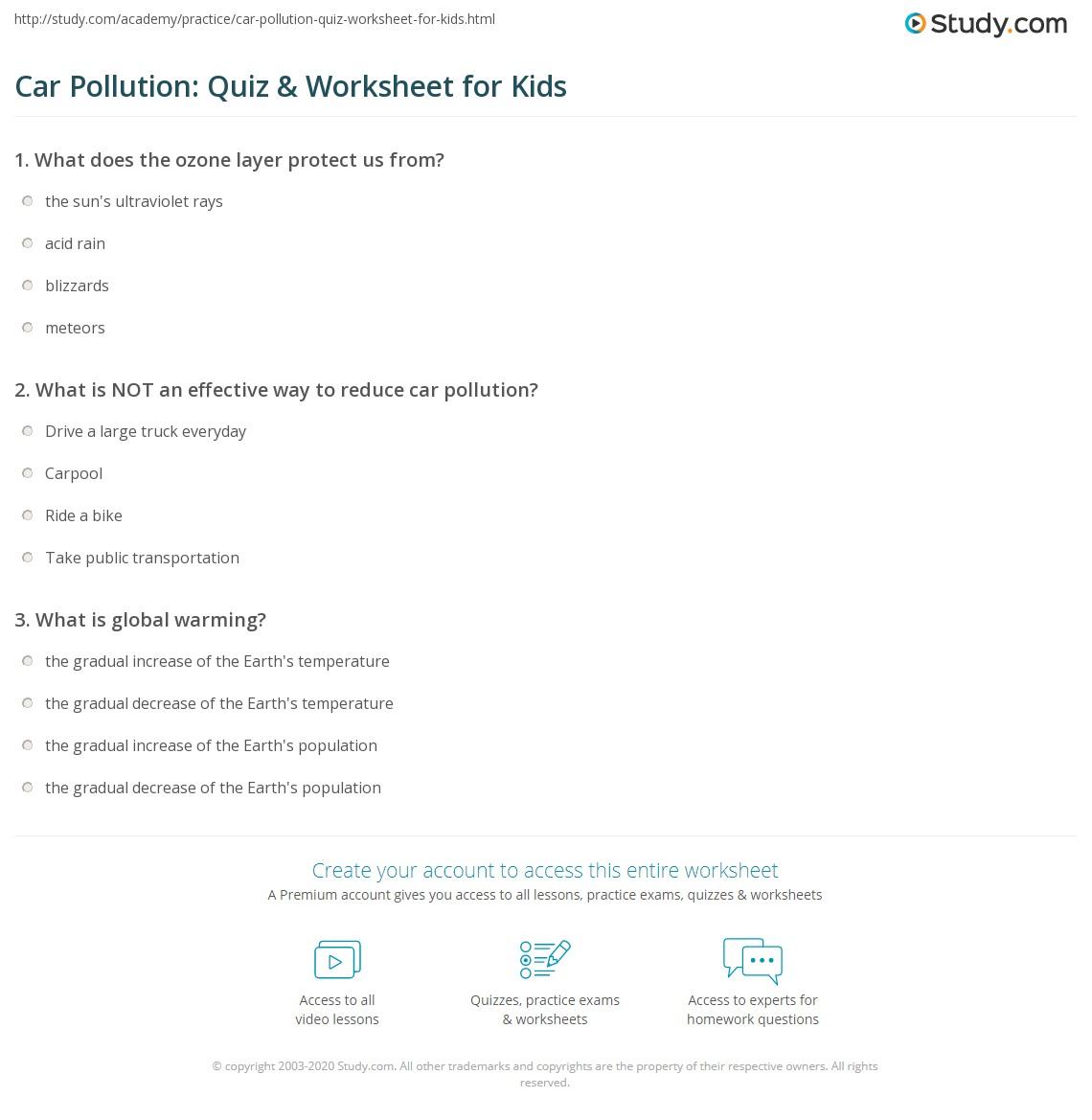 Car Pollution Quiz Worksheet For Kids