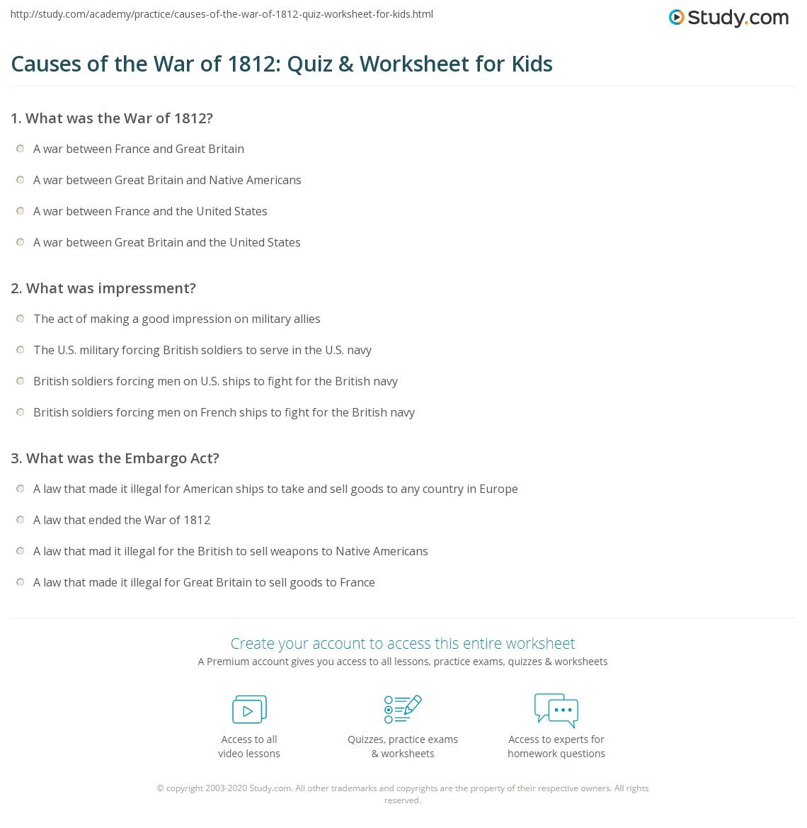 Print Causes of the War of 1812: Lesson for Kids Worksheet