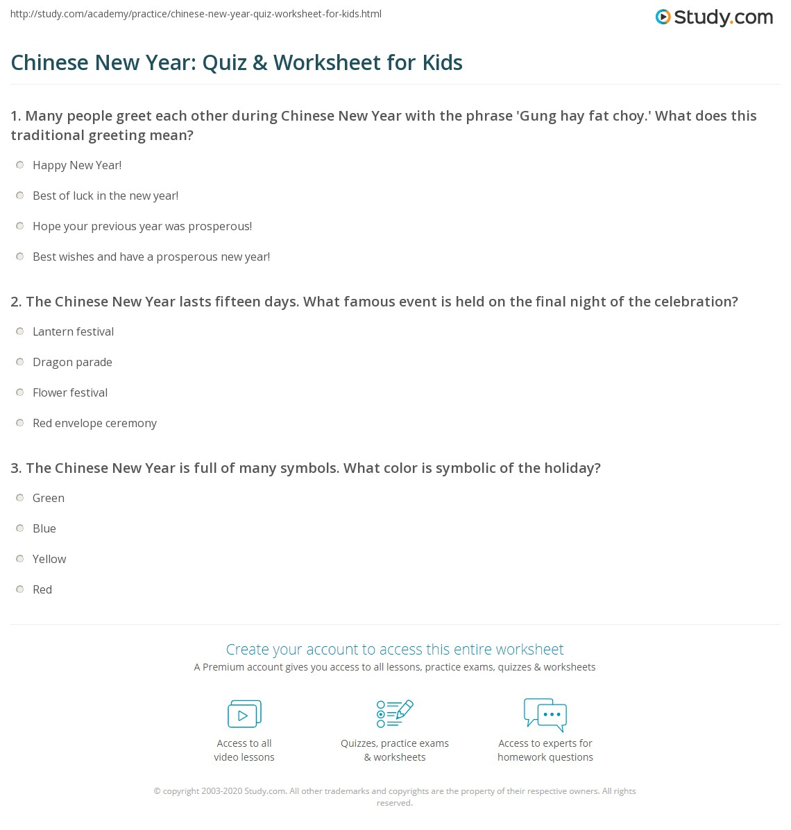 chinese new year quiz worksheet for kids. Black Bedroom Furniture Sets. Home Design Ideas