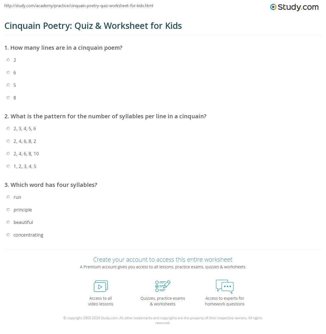 cinquain poetry quiz worksheet for kids. Black Bedroom Furniture Sets. Home Design Ideas