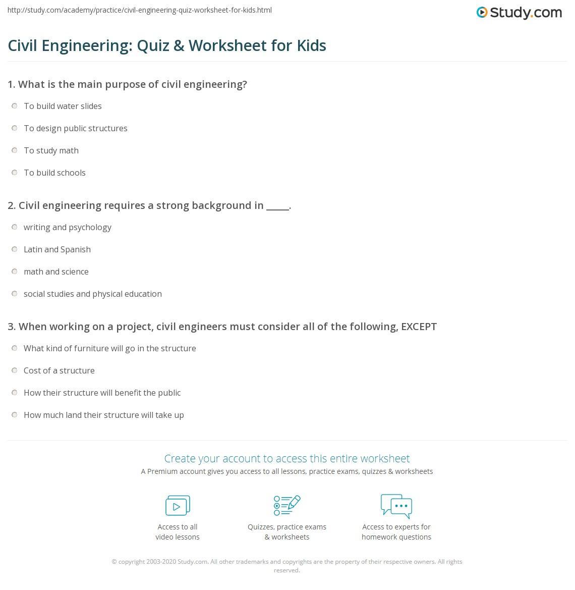Civil Engineering: Quiz & Worksheet for Kids | Study com