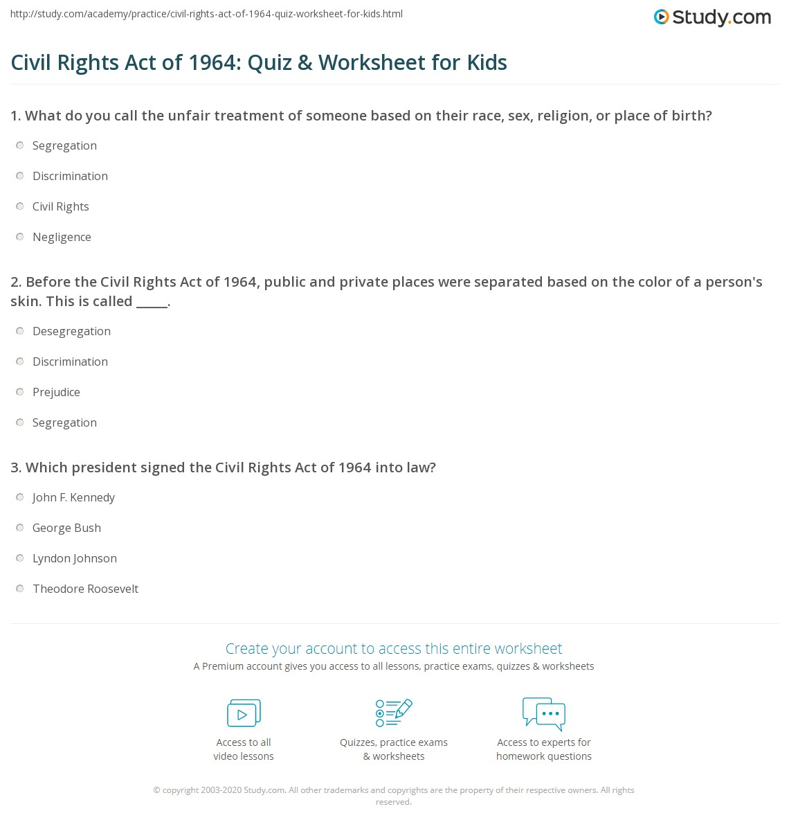 civil rights act of 1964 quiz worksheet for kids study com