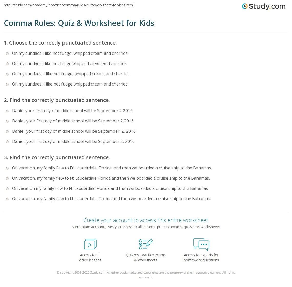 Worksheets Comma Practice Worksheets comma rules quiz worksheet for kids study com print lesson worksheet