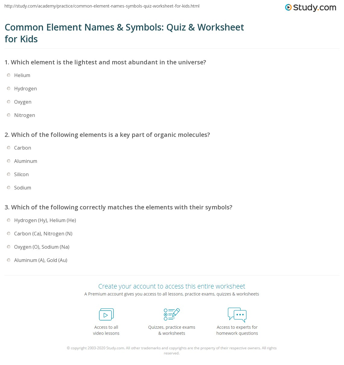 Common Element Names Symbols Quiz Worksheet For Kids Study