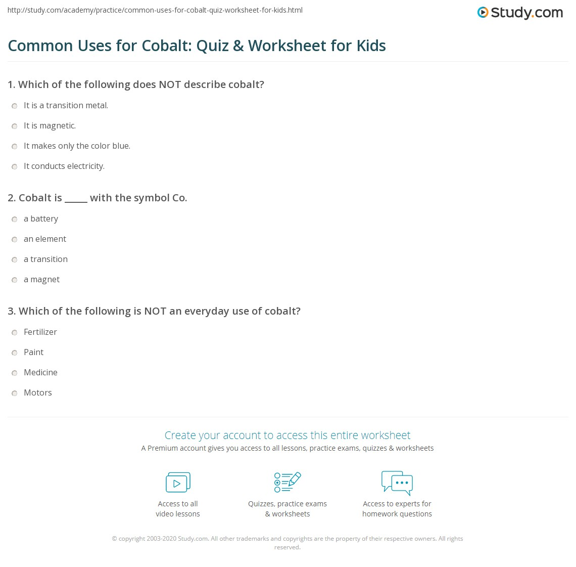 Common Uses For Cobalt Quiz Worksheet For Kids Study