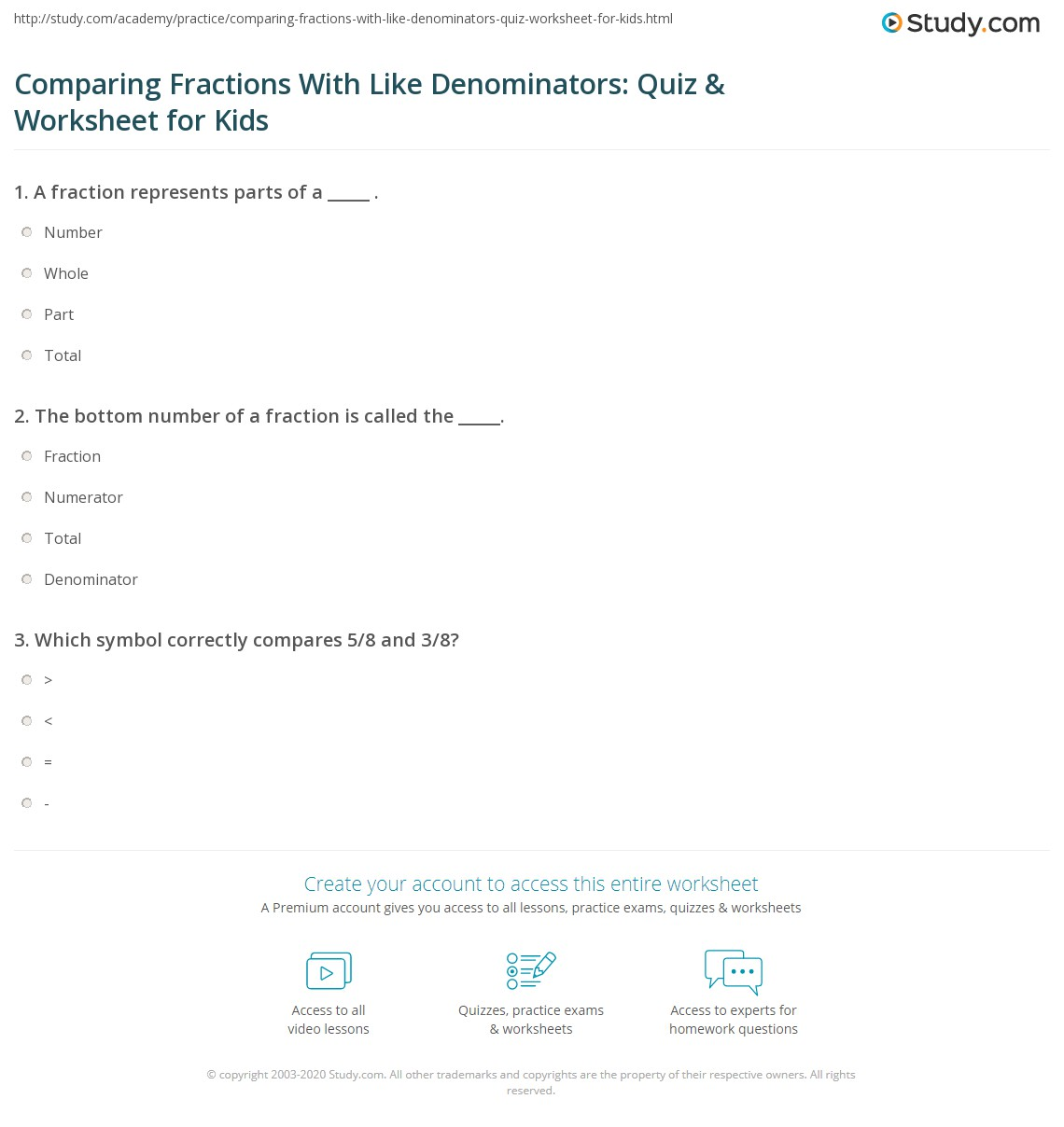 Comparing Fractions With Like Denominators Quiz Worksheet For