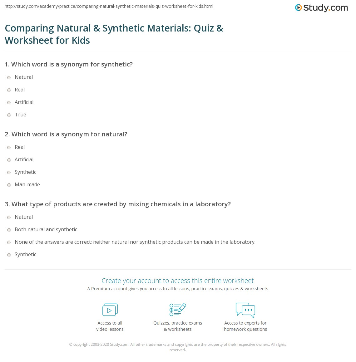 Comparing Natural Synthetic Materials Quiz Worksheet For Kids