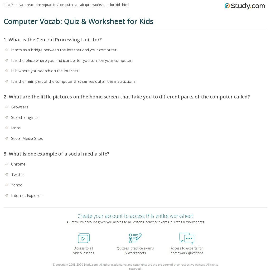 Computer Vocab: Quiz & Worksheet for Kids | Study.com