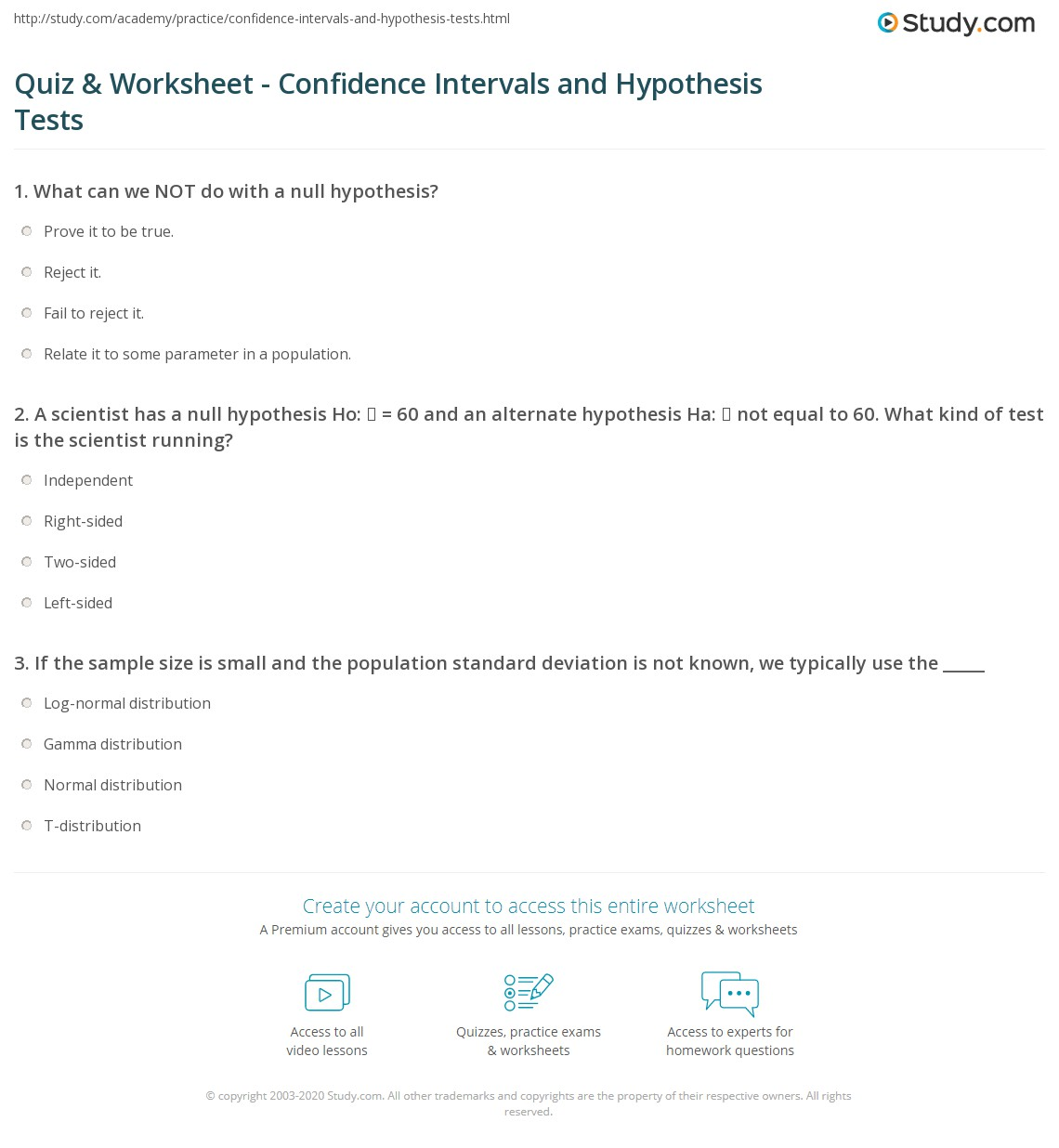 Quiz & Worksheet - Confidence Intervals and Hypothesis Tests ...