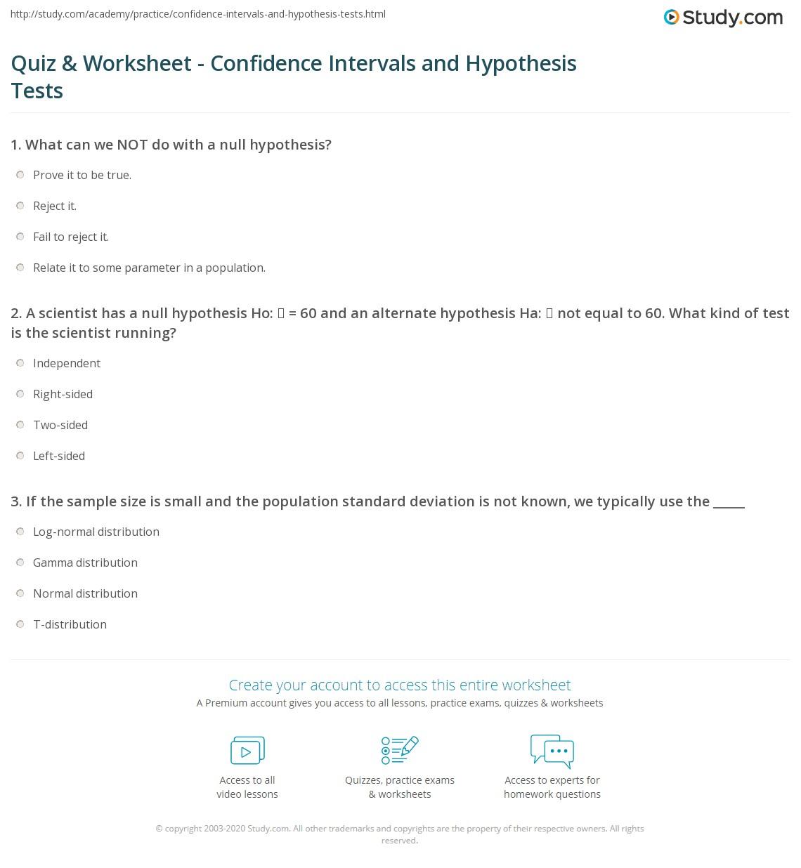 Worksheets Confidence Interval Worksheet quiz worksheet confidence intervals and hypothesis tests print the relationship between worksheet