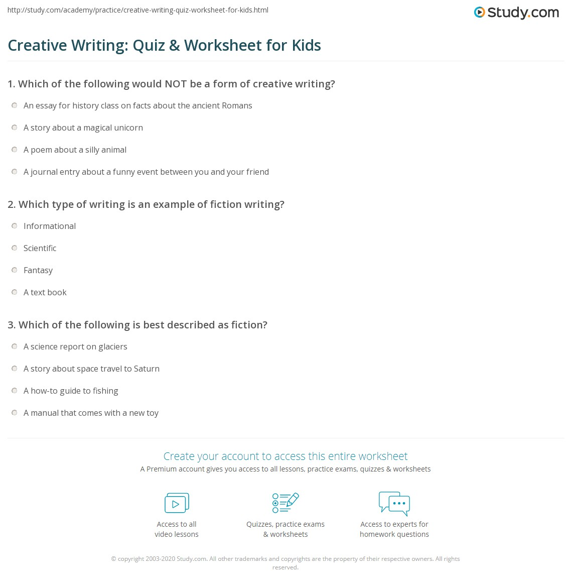 Creative Writing Quiz Worksheet For Kids Study Com