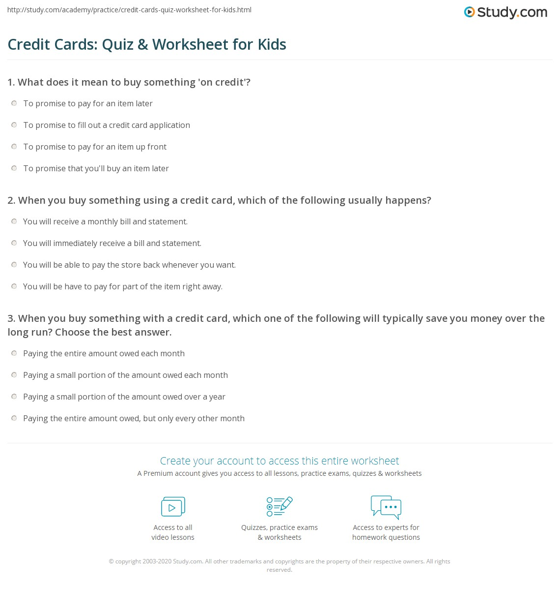 Worksheets Credit Card Worksheet credit cards quiz worksheet for kids study com print understanding lesson worksheet