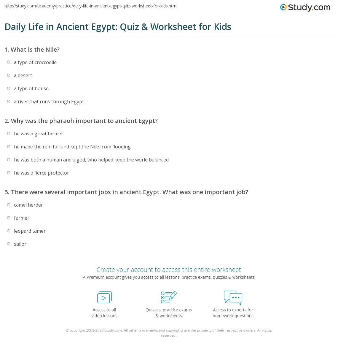 photo relating to Ancient Egypt Printable Worksheets identified as Each day Lifestyle within Historic Egypt: Quiz Worksheet for Small children