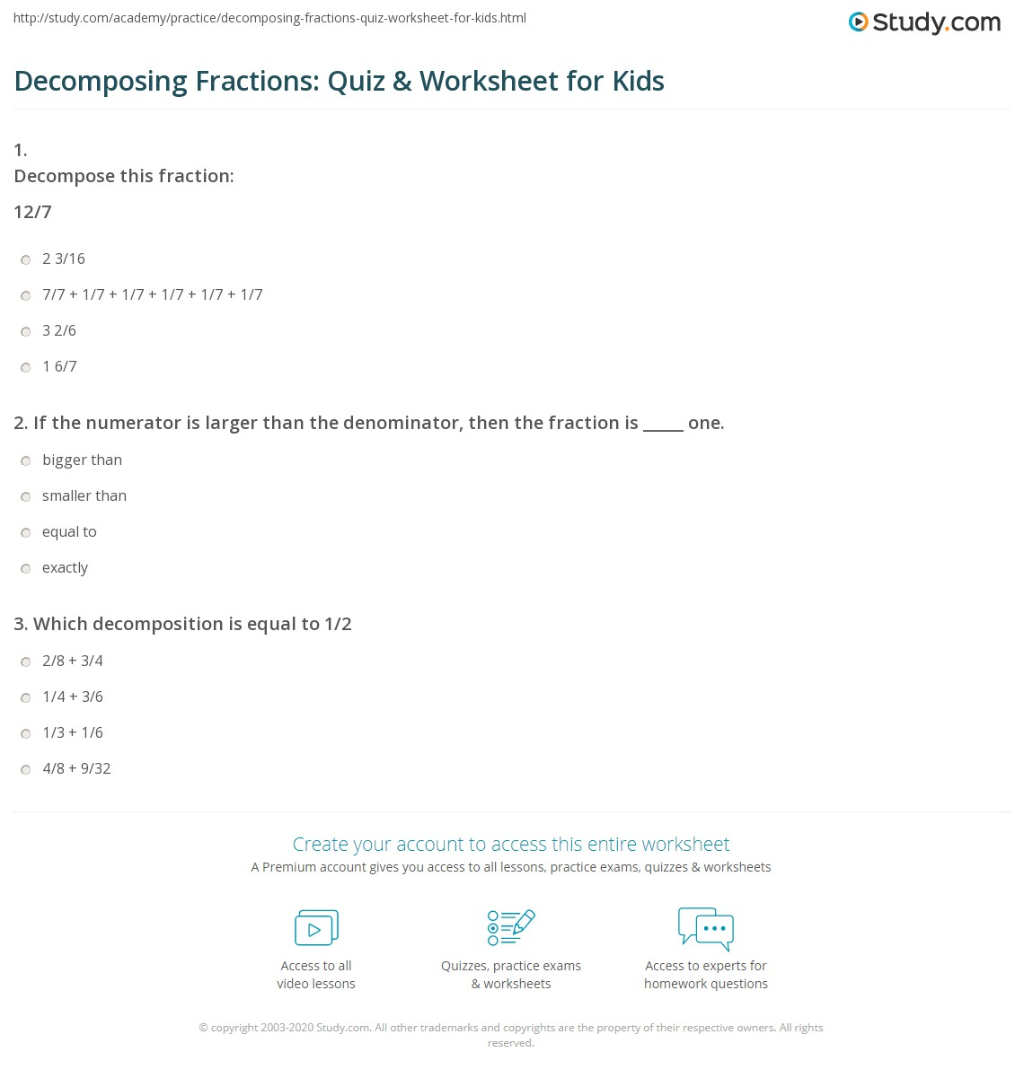 Decomposing Fractions: Quiz & Worksheet for Kids | Study.com