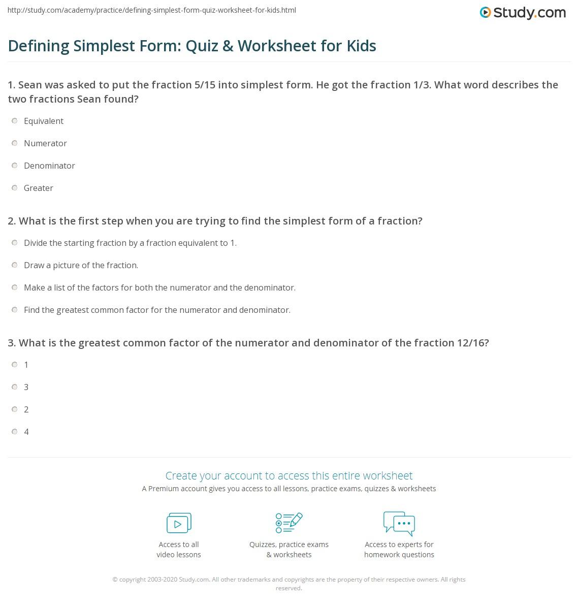 Defining Simplest Form: Quiz & Worksheet for Kids | Study.com