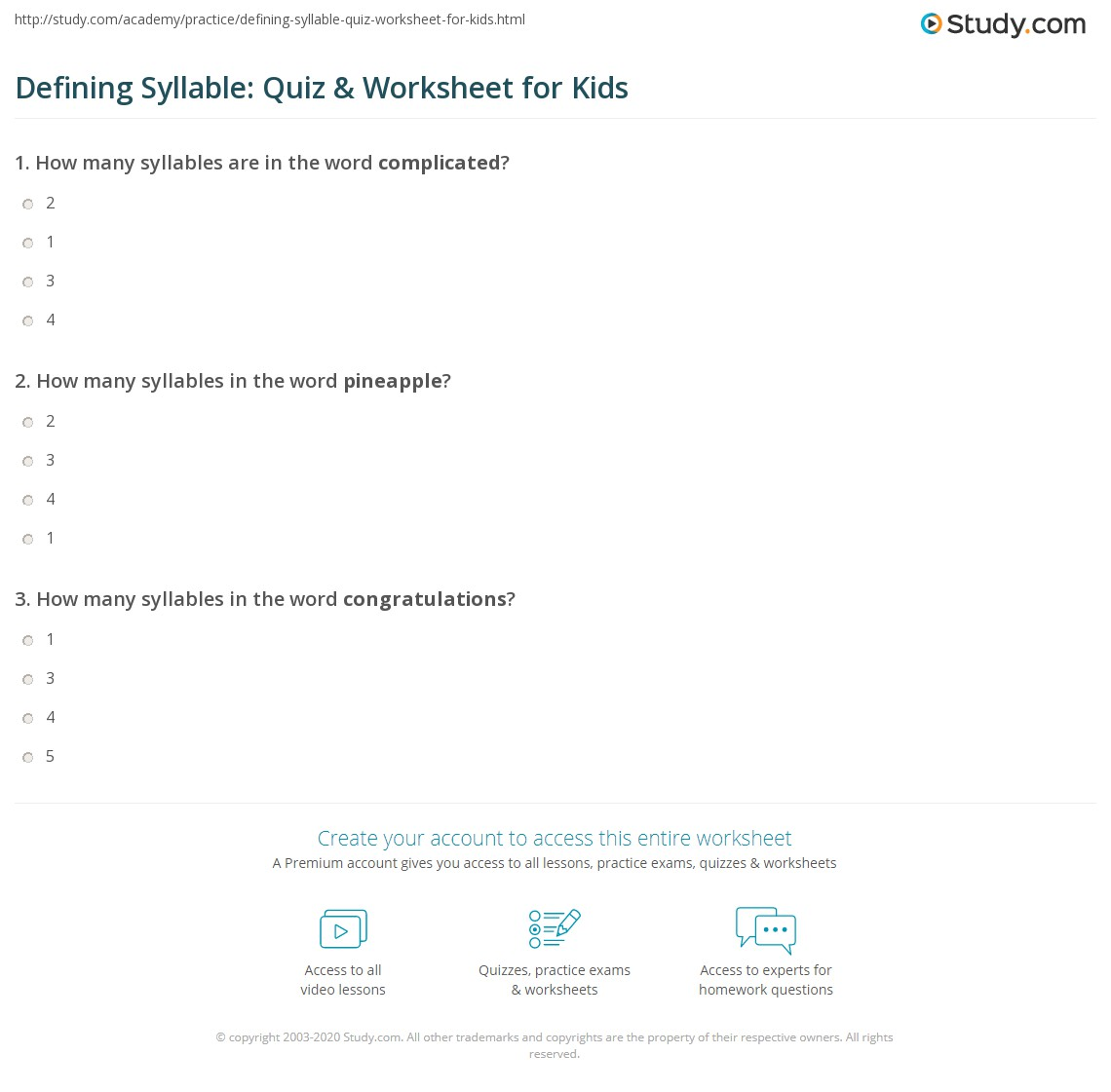 Defining Syllable: Quiz & Worksheet for Kids | Study.com