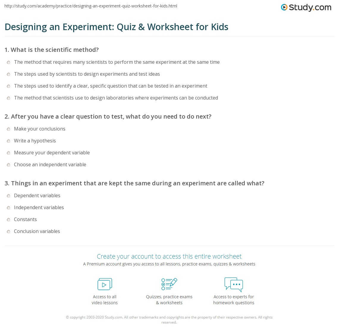 Designing an Experiment: Quiz & Worksheet for Kids | Study.com