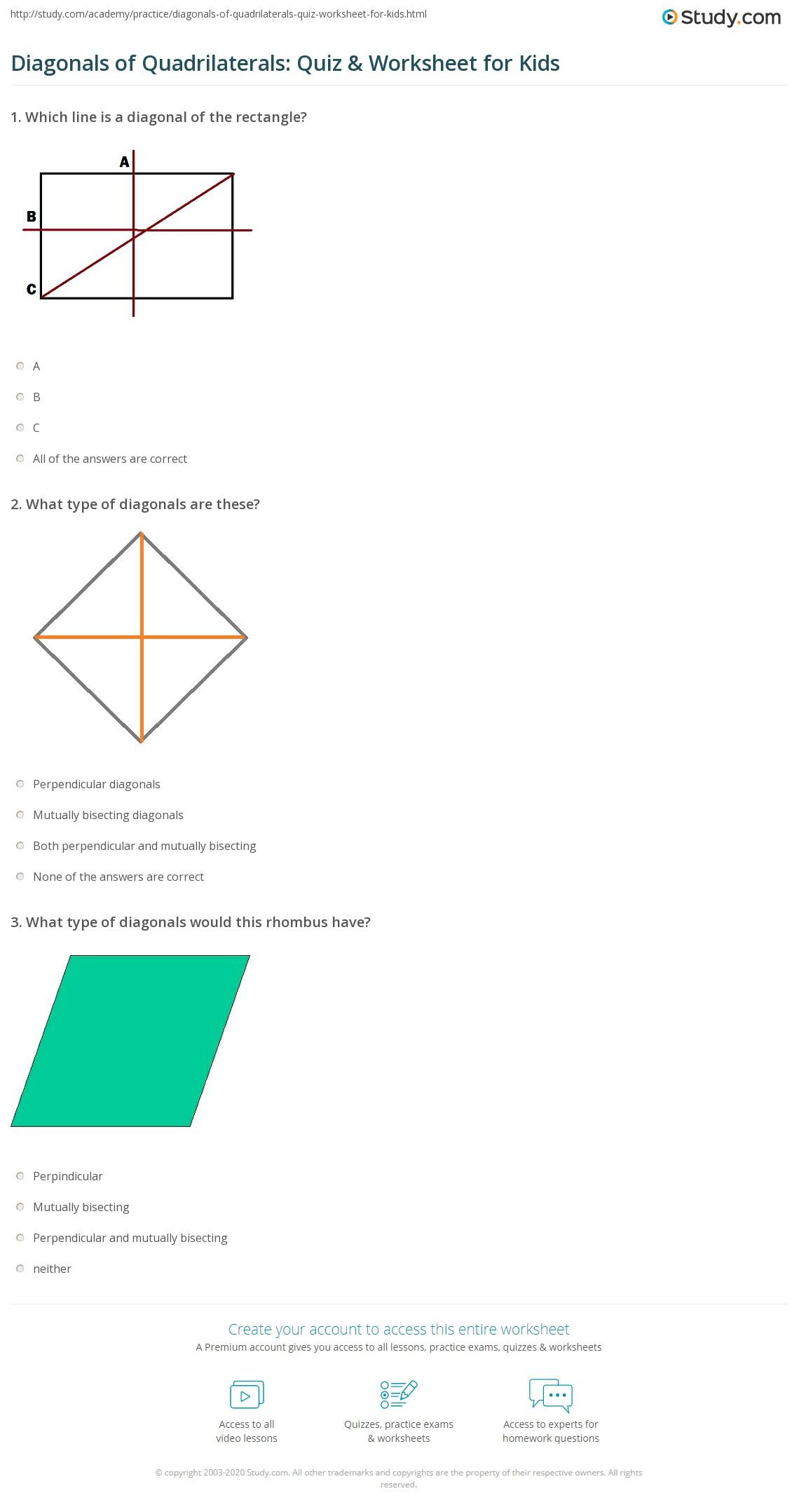Diagonals of Quadrilaterals Quiz Worksheet for Kids – Quadrilaterals Worksheet