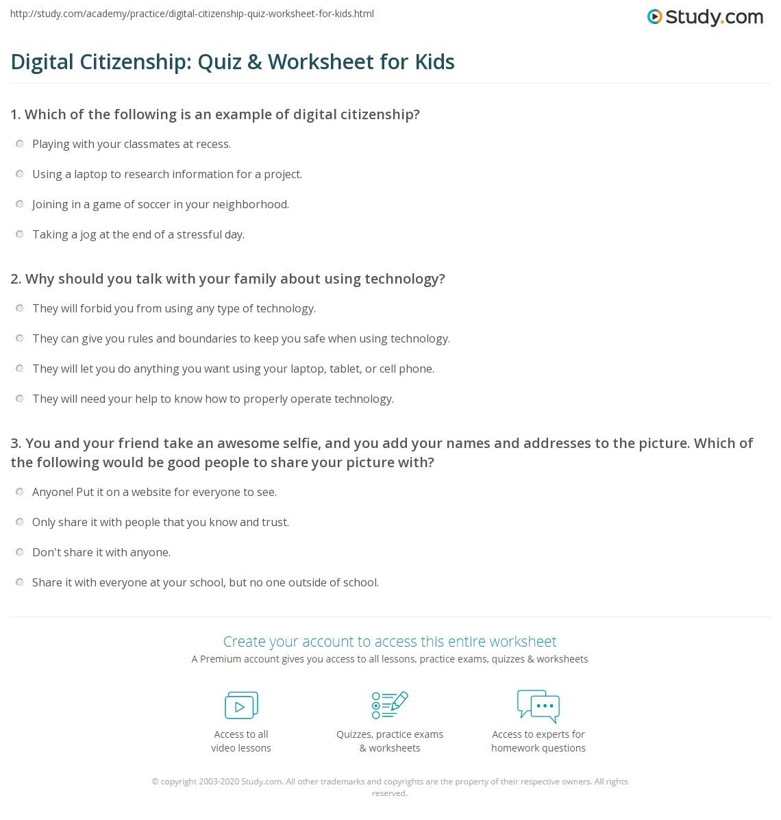 Digital Citizenship Quiz Worksheet For Kids Study Com