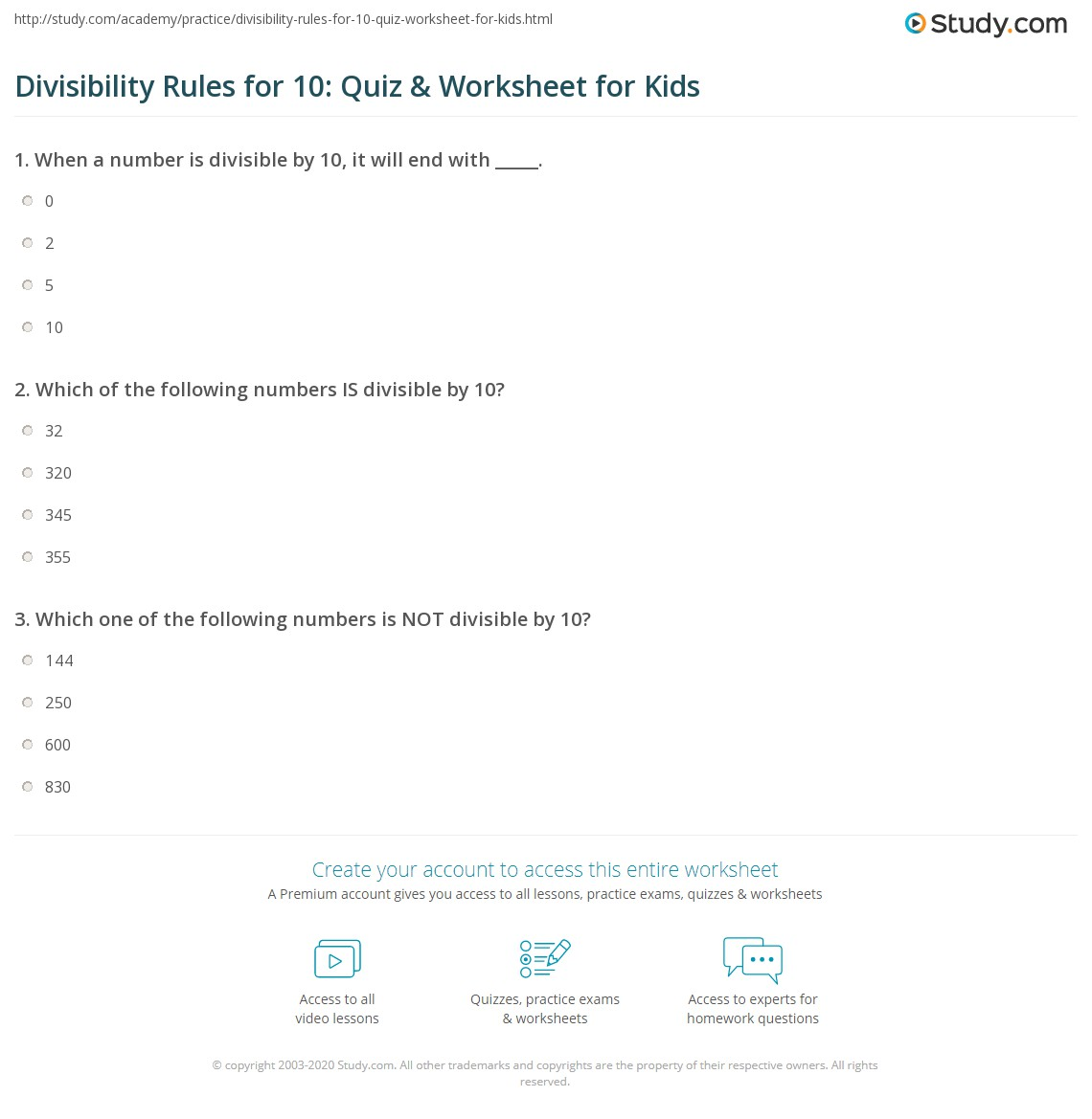 photo regarding Divisibility Rules Printable known as Divisibility Guidelines for 10: Quiz Worksheet for Children
